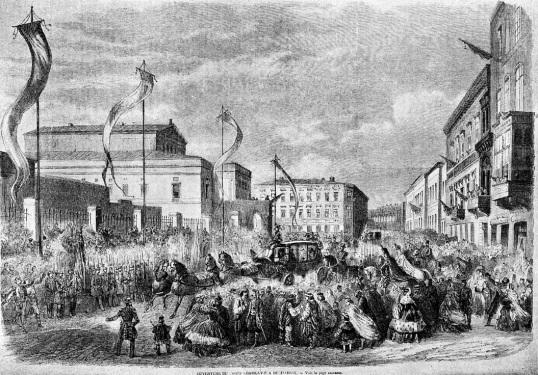 Calea Victoriei la 1862. Cortegiul domnitorului Alexandru Ioan Cuza