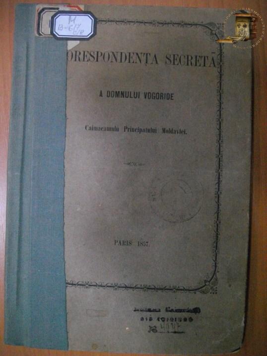 Corespondenta secreta a domnului Vogoride, Paris, 1857