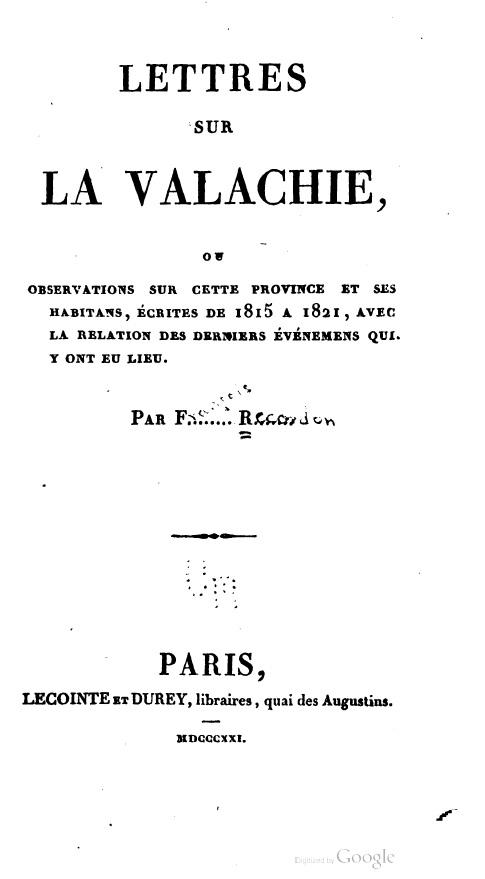 François Recordon, Lettres sur la Valachie
