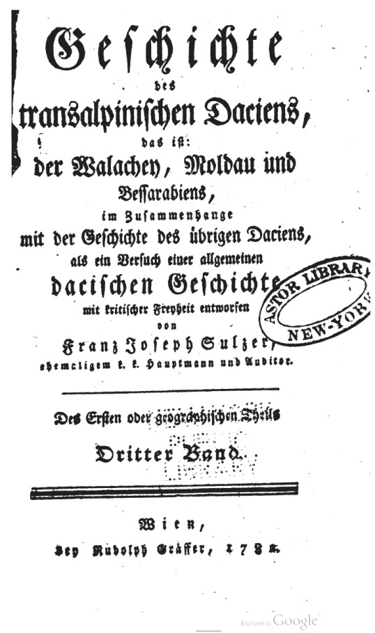 Franz Josef Sulzer, Geschichte des transalpinischen Daciens, 1782